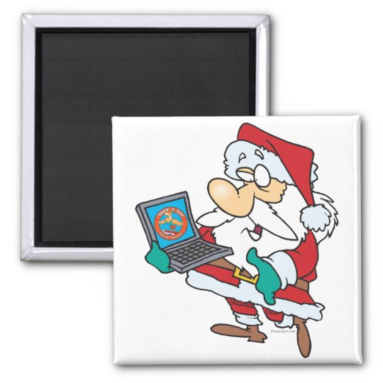 geeky technology savvy santa with a laptop cartoon magnet
