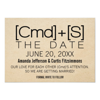 Geeky Typography 2 Save the Date Invite, Black Card