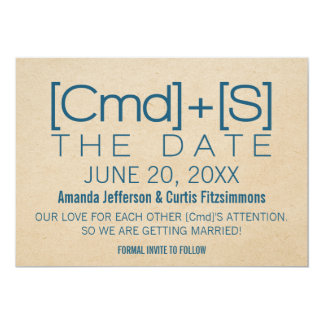 Geeky Typography 2 Save the Date Invite, Blue Card