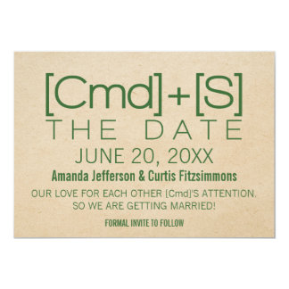 Geeky Typography 2 Save the Date Invite, Green Card