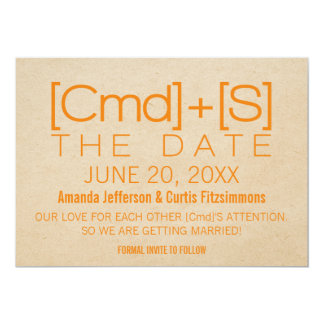 Geeky Typography 2 Save the Date Invite, Orange Card
