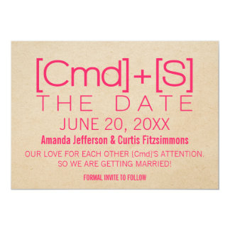 Geeky Typography 2 Save the Date Invite, Pink Card
