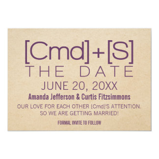 Geeky Typography 2 Save the Date Invite, Purple Card