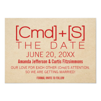 Geeky Typography 2 Save the Date Invite, Red Card