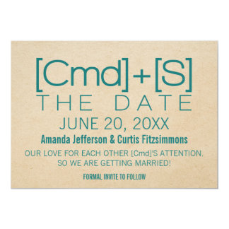 Geeky Typography 2 Save the Date Invite, Teal Card