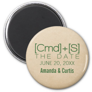 Geeky Typography 2 Save the Date Magnet, Green 2 Inch Round Magnet