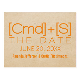 Geeky Typography 2 Save the Date Postcard, Orange Postcard