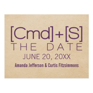 Geeky Typography 2 Save the Date Postcard, Purple Postcard