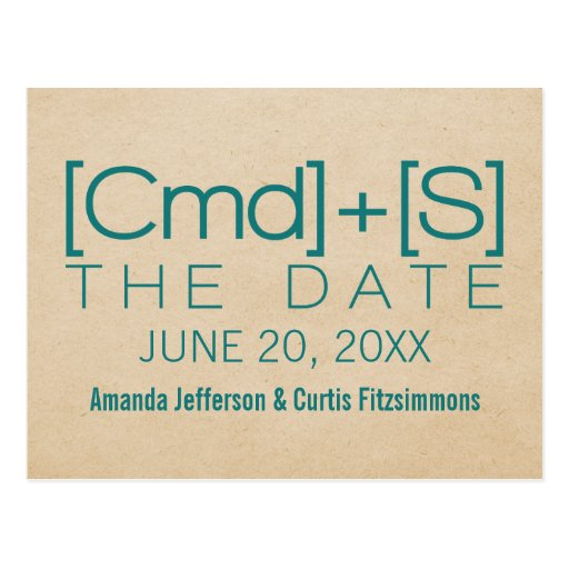 Geeky Typography 2 Save the Date Postcard, Teal