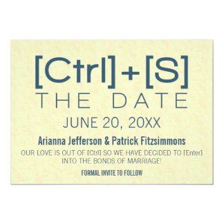 Geeky Typography Save the Date, Blue Card