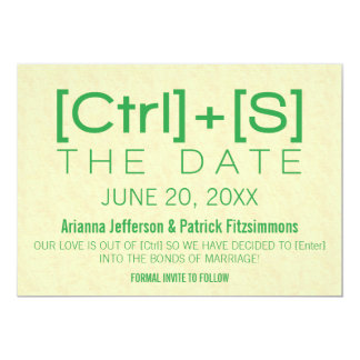 Geeky Typography Save the Date, Green Card