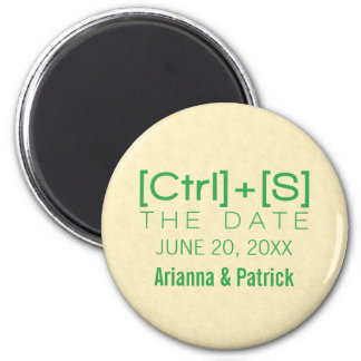 Geeky Typography Save the Date Magnet, Green 2 Inch Round Magnet