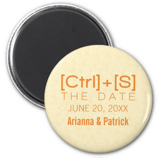 Geeky Typography Save the Date Magnet, Orange 2 Inch Round Magnet