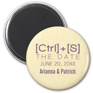 Geeky Typography Save the Date Magnet, Purple 2 Inch Round Magnet