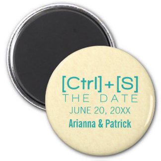 Geeky Typography Save the Date Magnet, Teal 2 Inch Round Magnet
