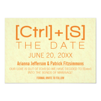 Geeky Typography Save the Date, Orange Card