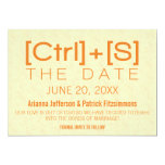 Geeky Typography Save the Date, Orange 5x7 Paper Invitation Card