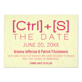 Geeky Typography Save the Date, Pink Card