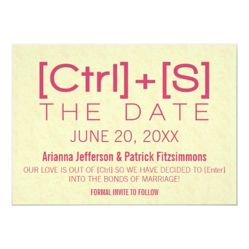 Geeky Typography Save the Date, Pink 5x7 Paper Invitation Card
