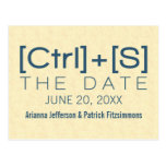Geeky Typography Save the Date Postcard, Blue