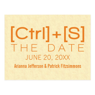 Geeky Typography Save the Date Postcard, Orange Postcard