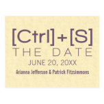Geeky Typography Save the Date Postcard, Purple