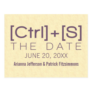 Geeky Typography Save the Date Postcard Purple