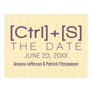 Geeky Typography Save the Date Postcard, Purple Postcard