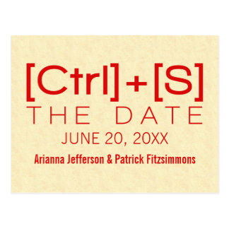 Geeky Typography Save the Date Postcard Red