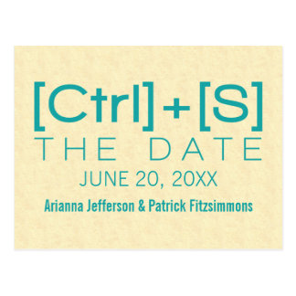 Geeky Typography Save the Date Postcard, Teal Postcard