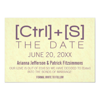 Geeky Typography Save the Date, Purple Card