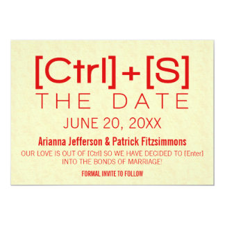 Geeky Typography Save the Date, Red Card
