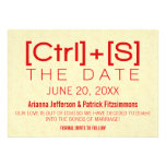 Geeky Typography Save the Date, Red Custom Announcement