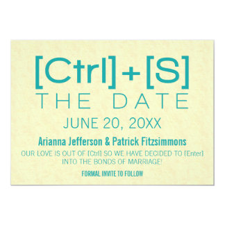 Geeky Typography Save the Date, Teal Card