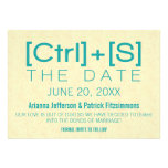 Geeky Typography Save the Date, Teal Custom Invitations