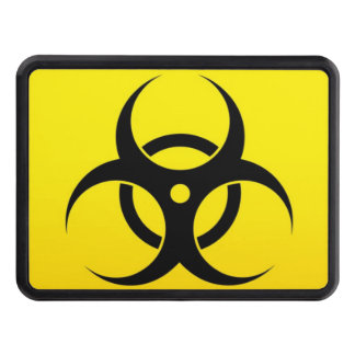Geeky Yellow Biohazard Sign Trailer Hitch Covers
