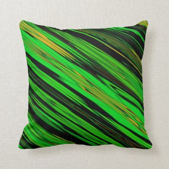 Geen and Black Bright Srtipe Mojo Throw Pillow