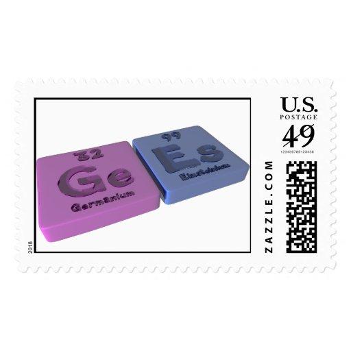 Gees as Ge Germanium and Es Einsteinium Stamps