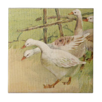 Geese and Chick Vintage Easter Ceramic Tile
