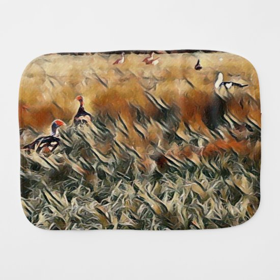Geese and Duck Roam Art Baby Burp Cloth