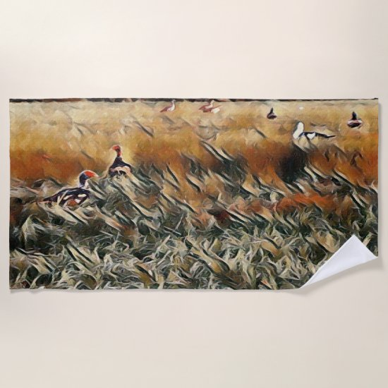Geese and Duck Roam Art Beach Towel