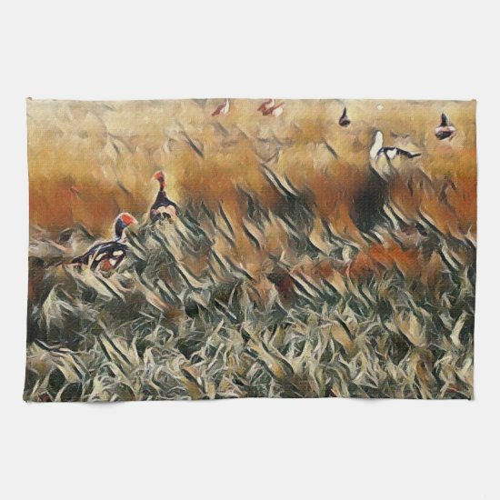 Geese and Duck Roam Art Kitchen Towel
