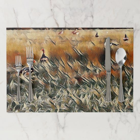 Geese and Duck Roam Art Paper Placemat
