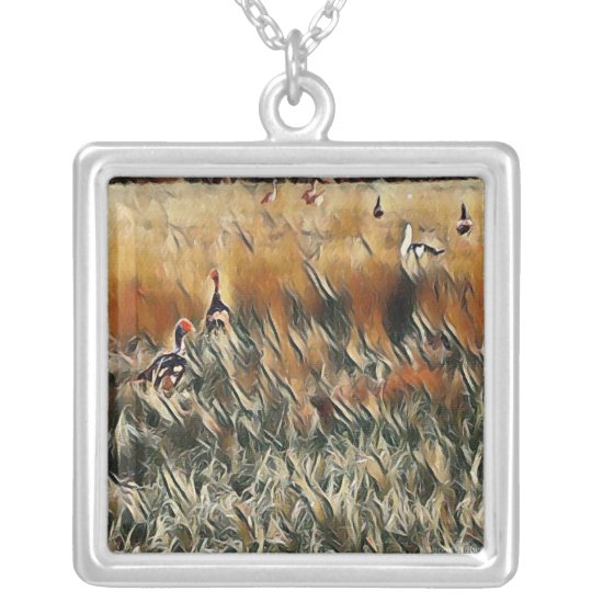 Geese and Duck Roam Art Silver Plated Necklace