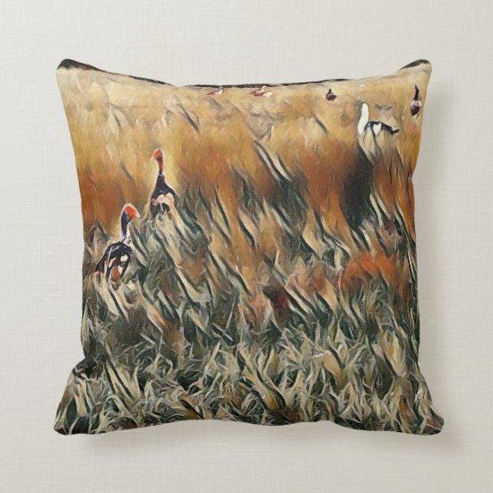 Geese and Duck Roam Art Throw Pillow