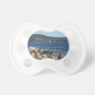 Geese and Lake with Sailboat Baby Pacifier