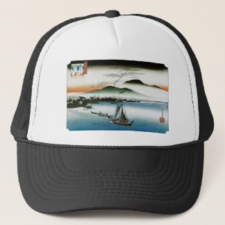 Geese, Boats, and Mountains. Katada, Japan Trucker Hat