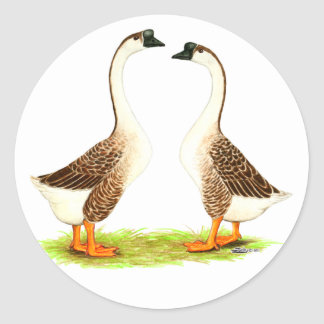 Geese:  Brown Chinese Round Stickers