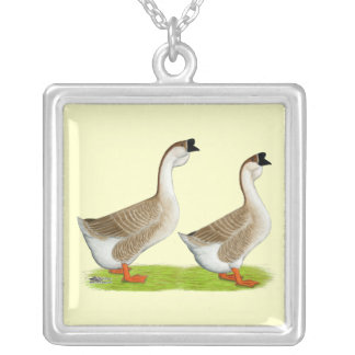 Geese:  Buff African Silver Plated Necklace