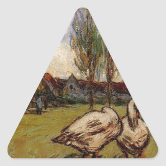 Geese by Alfred Sisley Triangle Sticker